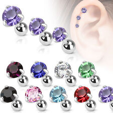 Surgical Steel Pronged Round CZ Tragus/Cartilage Piercing Stud - 3 mm (JA1023-4)