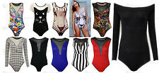 New Ladies Mesh Insert Style Leotard Bodysuit Womens Party Body Top Size S/M M/L