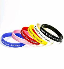 Type 1 diabetes medical alert silicone wrist band bracelet insulin dep uk seller