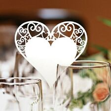 Heart Wedding Party Glass Place Name Cards. Laser Cut on Luxury Pearlescent Card