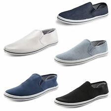 New Mens Canvas Plimsolls Plims Lace Up Slip On Gusset Trainers UK Sizes 7-12
