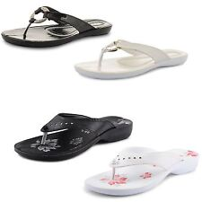 New Ladies Flat Toe Post Summer Beach Wedge Sandals Flip Flop Size UK 3-8