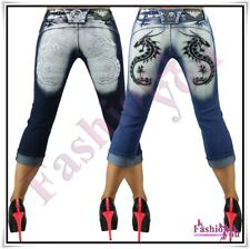 Womens Capri Jeans Shorts Ladies Summer Tattoo Jeans Crazy Age Size 6,8,10,12,14
