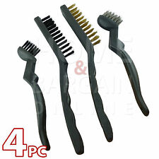 WIRE BRUSH SET 4Pc NYLON STEEL BRASS BRUSHES RUST DIRT DUST REMOVER CLEANER TOOL