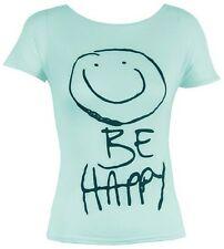 Girls Short Sleeve Be Happy Print T Shirts Top Casual Tee Age 9-13yrs