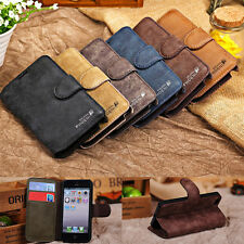 Flip Genuine Leather Credit Card Slot Stand Cover Case Wallet For iphone Samsung
