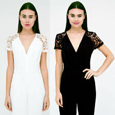 Girl In Mind Amite Black White Crochet Cap Sleeves Jumpsuit SIZE 8 10 12 14