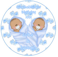 Twin boys 1st Birthday Personalised Icing Cake Topper party decoration blue boy