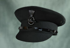 MENS BLACK  CHAUFFERS HAT WITH COCKADE CHOICE OF SIZE