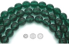 "Czech Fire Polished Round Faceted Beads in Green Zircon color 16"" strand"