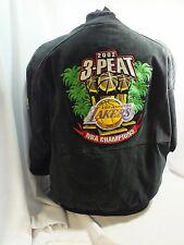 LOS ANGELES LAKERS 2002 3-PEAT CHAMPIONS SUEDE JEFF HAMILTON JACKET XL BLACK