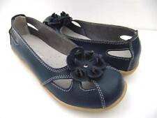 WOMENS Comfort Sz 7.8.9.10 Soft LEATHER FLATS Flower Ballet SHOES Navy Blue WORK