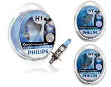 PHILIPS Blue Vision Ultra H1 H4 H7 W5W T4W Headlight Beam Bulb Car Globes (Pair)