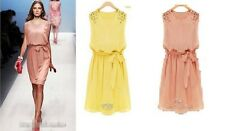 Women Chiffon Handmade Bead Shoulder Bow Belt Sleeveless Pleated Dress Skirt