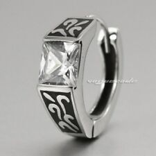 316L Stainless Steel CZ Stone Men Rocker Earring V051A