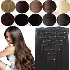 Elegant 8PCS 18Clips SALON FINEST HAIR EXTENTIONS CLIP IN Girls Stylish F25