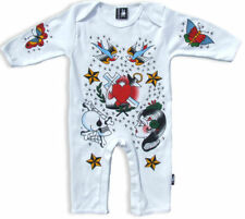 Six Bunnies Tattoo Nautical Sailor Baby Romper Bodysuit Rockabilly Punk Onesie
