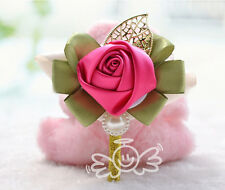 HANDMADE Artificial Wedding Flowers Ribbon buttonhole Corsage Bride Groomsmen