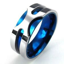 Men's 316L Stainless Steel Titanium Gorgeous Blue Silver Valentine's Band Ring
