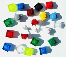 Square Stud Earrings handmade with LEGO bricks plate wedding silver plated post