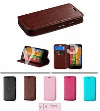 Leather Wallet ID Folio Flip Pouch myJacket Case Cover Stand for Motorola Moto G