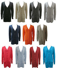 Plain Long Ladies Boyfriend Style Cardigan With 2 Pockets Sizes 8 to 24