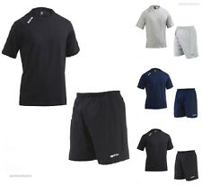 Errea Mackay Training Set T-Shirt Shorts Football Gym Running Black Navy Grey