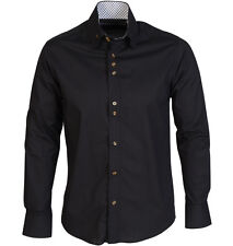 Guide London  Long Sleeve High Collar Stretch  Shirt with Triple Button Black