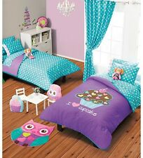 Twin Full Girls Cupcake Comforter Set with Matching Curtains