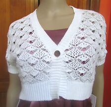 Calvin Klein White Shell Knit Short Sleeve Shrug NWT Sz S M L