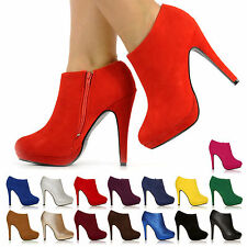 NEW HIGH HEEL FASHION ANKLE SHOE BOOTS FAUX SUEDE FAKE LEATHER ALL SIZES & COLOR