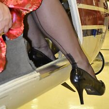 Gio Cuban (Square) heel fully fashioned stockings, sheer, finest quality, seams.