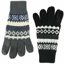 Mens Thermal Fairisle/ Aztec Gloves With Wool One Size - Black Or Marl Grey