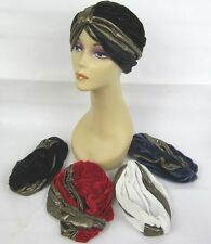 BEAUTIFUL 2 TONE COLOR VELVET & GOLD TURBAN  CHEMO CANCER HAT  ONE SIZE