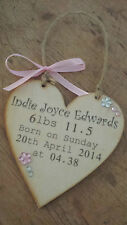 PERSONALISED NEW BABY ANY NAME HEART PLAQUE GIRL WEIGHT DATE ANY WORDS GIFT CUTE