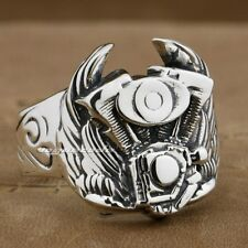 Wing Motorcycle Engine 925 Sterling Silver Mens Biker Ring 8S001A