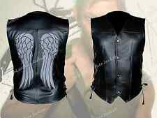 The Walking Dead Daryl Dixon Stylish Leather Vest with Angel Wings