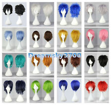 New 16 Colors Fashion Short Straight Man Wig Cosplay Party Wigs +gift