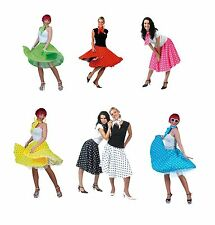 ROCK N ROLL 1950s SKIRTS FANCY DRESS ADULT ONE SIZE COSTUME ALL COLOURS