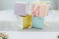 """3"""" Favor Gift Cube Box,Clear Plastic Wedding Baby Shower Party Candle Soap 25/50"""