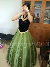 High quality Princess Anna Cosplay Formal Dress Hand-Made Kids/Adult for party
