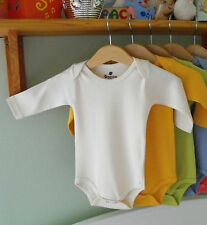 Natural Cream 100% Organic Cotton Clothes Baby Grows Bodysuit LONG Sleeve