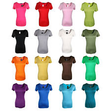 ROUND NECK SHORT SLEEVE WOMENS SOLID TOP COTTON T SHIRT ONE SIZE 16 COLORS
