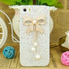 Glitter Gem Diamond Pearl Bow PU Leather Bling Case Cover For iPhone 5s 5c 4s 4