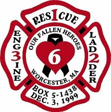 Firefighter Worcester 6 Memorial Decal - MALTESE CROSS in Variety of Sizes!