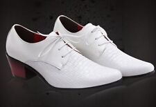 New fashion men's faux leather dress pointed toe lace Comfort cuban heel shoes