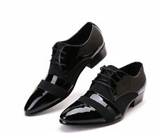 Fashion Trend mens dress formal black patent leather pointed toe lace up shoes