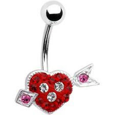 316L Surgical Steel Austrian Crystal Arrow Heart Navel Belly  Ring