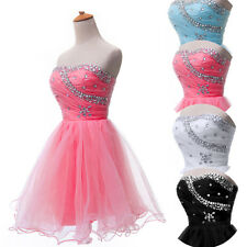 Charming Strapless Sequin Bridesmaid Cocktail Evening Short Prom Ball Gown Dress
