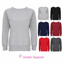 NEW LADIES LONG SLEEVE PLAIN WOMENS GIRLS SWEATSHIRT JUMPER TOP 8-14